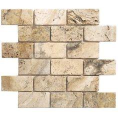 "Philadelphia Brick 4"" x 2"" Travertine Tumbled Mosaic in Beige & Gray"