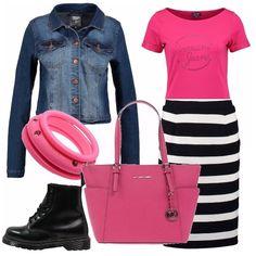 Iniziamo bene la giornata abbinando il fucsia ai colori classici. Giacca di jeans corta e gonna a tubino lunga a righe bianche e nere. Per spezzare un bel fucsia; borsa shopper e bracciale in tono con la maglietta.