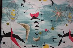 Barkcloth Calder Mobile Atomic Design Space Age Fabric large piece VINTAGE by Plantdreaming