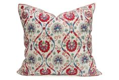 Cool Marigold Suzani Pillow