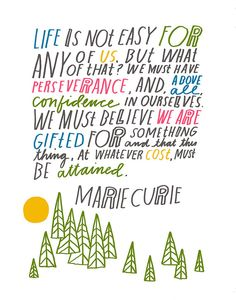 she uses my word; persevere(ance)    Marie Curie Quote  Large Size by lisacongdon on Etsy, $36.00