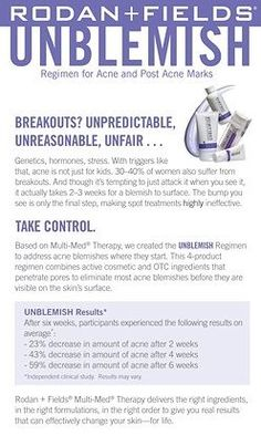 From the doctors who created Proactiv, take control of your acne with Rodan and Fields Unblemish Regimen!