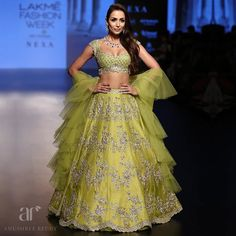 Lakme Fashion Week, 2018 (Aug end). Malaika Arora Khan in yellow-lime green Anus. Bridal Dupatta, Wedding Lehnga, Patiala Salwar, Anarkali, Lehenga Choli, Sabyasachi, Indian Dresses, Indian Outfits, Raw Silk Lehenga