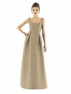 Alfred Sung style D563 is a Full length sleeveless scoop neckline mikado dress w/ inverted pleats at front waist. Inset waistband.