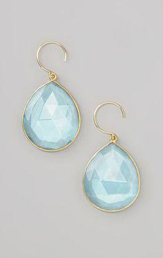 Sky Blue & Gold Faceted Teardrop Earrings