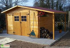 Abri de Jardin Bois Vendee (330x300x220) Emboîté 28 mm Wood Shed, Backyard Sheds, Shed Storage, Shed Plans, Cabana, Cottage, Outdoor Structures, Building, House