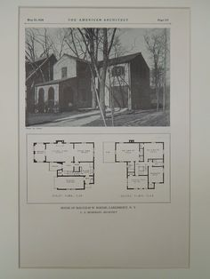 Floor Plans, House of Malcolm W. Bodine, Larchmount, NY, 1928, Lithograph