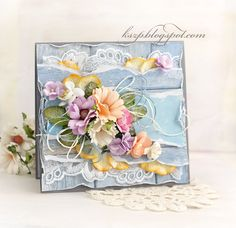 Hello everyone!   Klaudia here with you today. I'm sharing a spring card with many layers and a bouquet of various flowers in pastel colors...