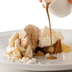 Pastry chef Dana Cree's take on the classic Mont Blanc features vanilla #meringue, poached #pears, and chunks of a fudgy, complexly flavored #cake made with chestnut flour, hazelnut oil and white wine.