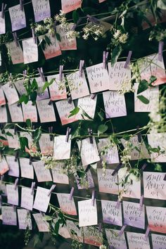 watercolor escort cards - photo by Jessica Janae Photography http://ruffledblog.com/romantic-forest-wedding