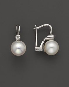 Cultured Akoya Pearl and Diamond Earrings in 14K White Gold