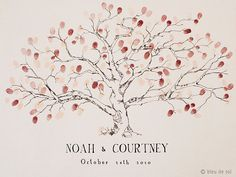 Medium Low Oak Design, The original hand-drawn guest book fingerprint tree (ink pads sold separately)
