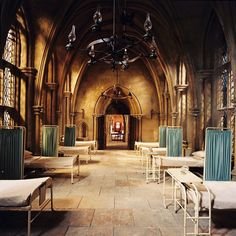 HARRY POTTER AND THE CHAMBER OF SECRETS, The Infirmary set, 2002, (c) Warner Brothers