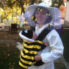 I needed to wear my baby in the Ergo carrier this Halloween but also wanted to dress him up in a costume. Check out the result--my baby-wearing Halloween costume!