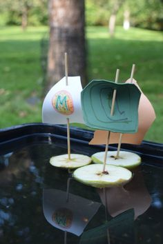 Apple boats - a fun activity for Autumn combining crafting, science and play.