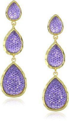Amrita Singh 18k Gold Plated 3-Teardrop Purple Crystal Earrings