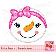 Snowman face,Snow girl with bow digital applique -for 4x4 5x7 6x10 hoop-Machine Embroidery Applique Design by CherryStitchDesign on Etsy