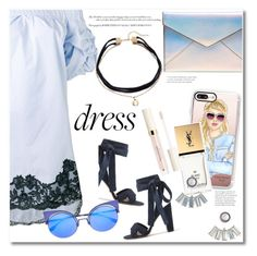 """Dress blue"" by vkmd ❤ liked on Polyvore featuring J.Crew, Ermanno Scervino, Rebecca Minkoff, Elizabeth and James, Casetify, Yves Saint Laurent, Aéropostale, Fendi and offshoulderdress"