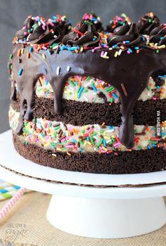 Funfetti Cake Batter Cookie Dough Brownie Layer Cake