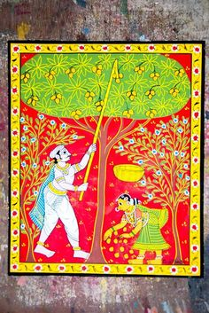 A scroll showing a village man plucking fruits from a mango tree.