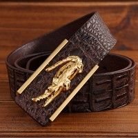 Crocodile Skin Classic Design Fashion Cool Mne's Leather Belt Luxury Buckle Length 120CM Best Leather Wallet, Crocodile Skin, Men's Fashion, Fashion Design, Belt, Cool Stuff, Luxury, Classic, Moda Masculina
