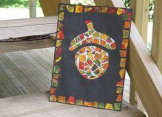 Patchwork Acorn: Fall Kids' Crafts - We love acorns! Fall Art Projects, Mosaic Projects, Craft Projects, Fall Preschool, Preschool Crafts, Preschool Ideas, Kid Crafts, Children Crafts, Preschool Education