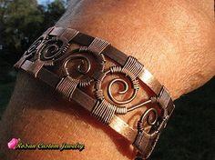 Copper Wire Woven Cuff Bracelet,Copper Bracelet,Gifts for Her,Wire Bracelet,Wire Jewelry