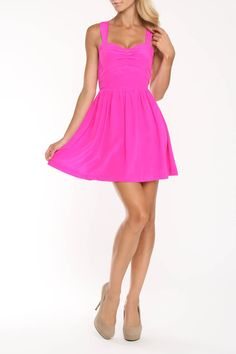 Rieley Faustine Fitted Bodice Dress In Hot Pink - Beyond the Rack