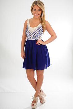 Breaking Point Dress: Navy/Cream