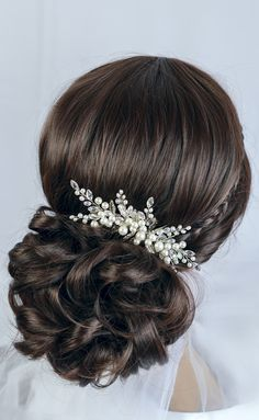 pearl and crystal wedding hair comb, bridal hair comb by TopGracia