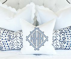 monogram pillow It's no secret, I LOVE a monogram! I keep running across some very cute monogram items (while searching...