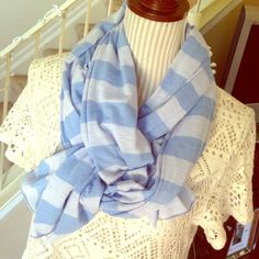 30% off 3NWT Baby Blue Striped Blanket Scarf Blanket style but a little thinner. Stretchy, comfy, and chunky Accessories Scarves & Wraps