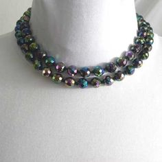Navy blue Carnival Glass vintage beaded necklace 1950s with 2 strands Glorious Carnival Glass in dark blue with shimmers of pink green yellow and more
