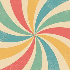 Colourful Wavy Retro Burst Vintage Background