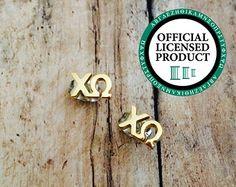 Chi Omega Letter Stud Earrings