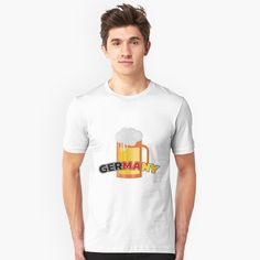 'Germany Beer' T-Shirt by favorite-shirt Germany Shirt, Funny Design, Cotton Tote Bags, Tshirt Colors, Wardrobe Staples, Female Models, Classic T Shirts, Tees, Mens Tops