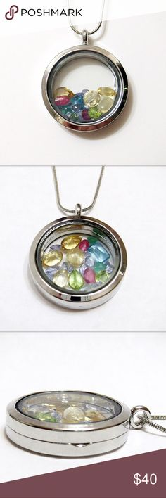 Silver Floating Gemstone Locket 30mm Metal Alloy and Glass Round Locket with Hinge and Magnetic Closure Filled with a Variety of Precious and Semi-Precious Gemstones in an Assortment of Cuts and Sizes on a Metal Alloy 24 Inch Snake Chain with Lobster Clasp. Jewelry Necklaces