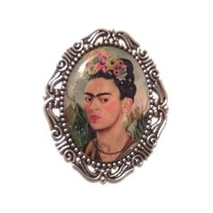 Frida Khalo Artist Cameo Brooch ($8) ❤ liked on Polyvore featuring jewelry, brooches, fillers, accessories, extra, chain jewelry, cameo brooch, cameo jewellery, cameo jewelry and silver plated jewelry