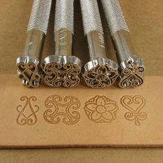 Floral Designs Leather Stamp Set - Set of Four Metal Stamps Leather Stamps, Leather Art, Sewing Leather, Leather Pattern, Leather Design, Leather Tooling, Leather Jewelry, Leather Working Tools, Leather Craft Tools