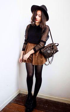 Corduroy Skirt + Sheer Black