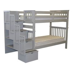 Bedz King Tall Twin over Twin Bunk Bed with Storage