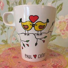 Love Birds Hand painted mug by PrettyPlatesPlease on Etsy