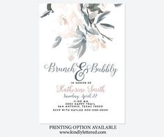 Brunch and Bubbly Invitation-Bridal Shower Invitation- Navy Wedding-Digital File- Digital File-Wedding Printable-Wedding Suite Available