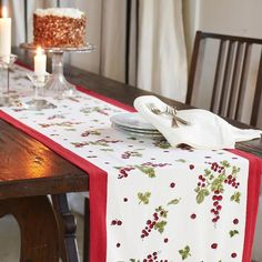 Gooseberry Red & Green Table Runner X French Table, Green Table, Linen Bedding, Bed Linen, Bedding Sets, Quilted Table Runners, Green Pattern, Table Linens, Red Green