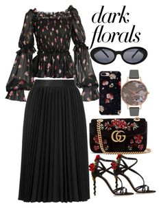 """""""Dark Florals"""" by bbywolfy ❤ liked on Polyvore featuring Dolce&Gabbana, Astraet, Gucci, Olivia Burton and Versace"""