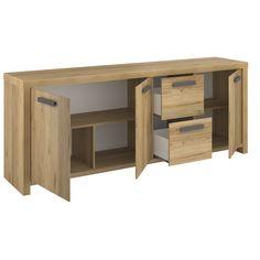 buffet enfilade 3 portes 2 tiroirs contemporain alison en bois chne