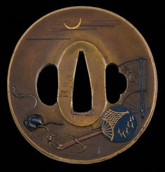 """Tsuba-  Edo (1800), Sendai Sadamasa school signed, """"Sadamasa Kao"""". Round brass dished to the sepa-dai, carved with shakudo, gold, silver and copper high relief inlay. Student of Kusakari Sendai Sadamasa and considered his equal. A willow tree is carved on the reverse. H 6.7 x 6.4cm x 5.5mm."""