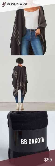 BB DAKOTA PONCHO Whether you're lounging, at the office, or traveling this season, this ultra-cozy knit poncho will be your chic defense against chilly nights and overzealous air conditioning. The poncho features a reversible stripe pattern in Black-Made from 65% acrylic and 35% polyester. -Female-Founded Company -Made in China BB Dakota Jackets & Coats Capes