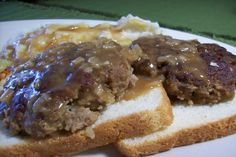 Beef Patties in Onion Gravy.  Serve with mashed potatoes or noodles.  This was an excellent alternative to plain burgers on a bun.