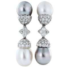 CARTIER Platinum Multicolor South Sea Pearl and Diamond Earrings